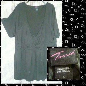 Torrid Black Soft Knit Babydoll Top Sz 4